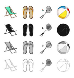 chaise lounge beach slippers rest badminton vector image