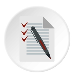Checklist and pen icon flat style vector image