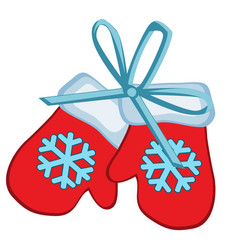 christmas toy in form red winter mittens vector image
