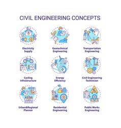 Civil engineering concept icons set vector