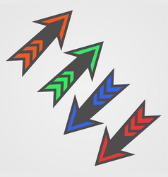 Colored arrows on white background vector