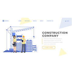 Construction company landing page template vector