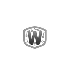 creative shield w letter logo design symbol vector image