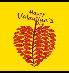 creative valentine love leaf design card vector image