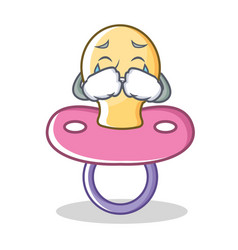 crying baby pacifier character cartoon vector image