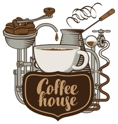 Cup and coffee machine in retro vector