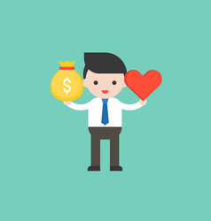 Cute business man hold money bag and heart vector