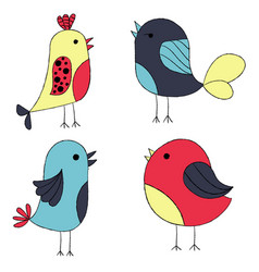 cute hand drawn birds colorful birds collection vector image