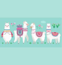 Cute llamas funny hand drawn alpaca characters vector