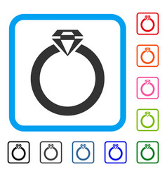 diamond ring framed icon vector image