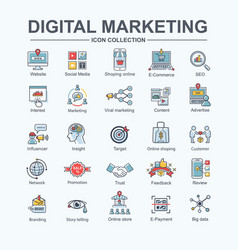 digital online marketing icon for social media vector image
