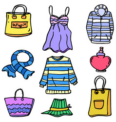 Doodle of women clothes style set vector