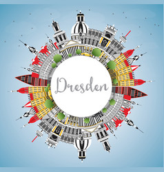 Dresden germany city skyline with color buildings vector