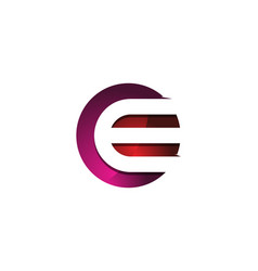 e 3d colorful circle letter logo icon design vector image