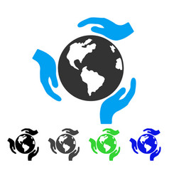 Earth protection flat icon vector
