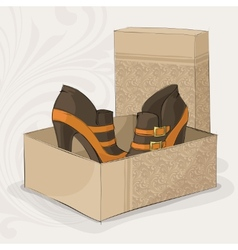 Elegant girls brown and yellow ankle boots vector image