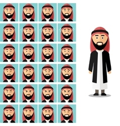 Face emotions of arab man set in flat vector