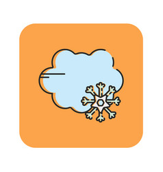 Flat color snow rain icon vector