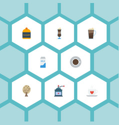 Flat icons mocha paper box coffee mill and other vector