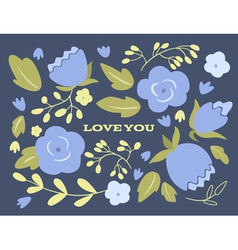 Floral wedding or Valentines day card vector image