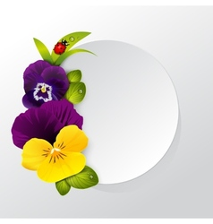 Frame of naturalistic pansy flower with leaves vector