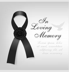 funeral card black awareness ribbon with black vector image