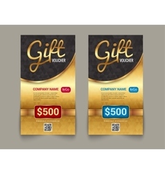 Gift voucher market template with golden tag vector