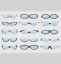 glasses line art silhouette eyewear and optical vector image