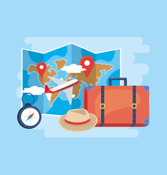 Global map location with airplane and baggage vector