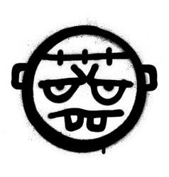 Graffiti grumpy monster icon in black over white vector