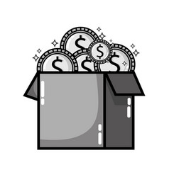grayscale box open with coins cash money vector image