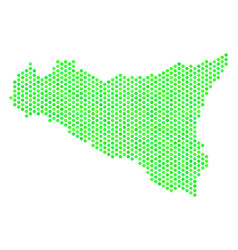 green hex tile sicilia map vector image