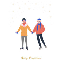 Greeting card with smiling lgbt gay couple vector