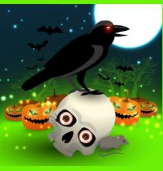 halloween cartoon picture with black crow vector image