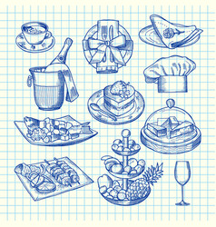 hand drawn restaurant or service elements vector image