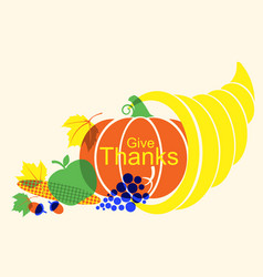 happy thanksgiving day poster with cornucopia and vector image