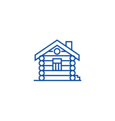 housecabinwood house line icon concept house vector image