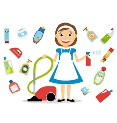 Housewife and home cleaning icons vector