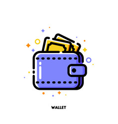 icon wallet with banknotes for shopping concept vector image
