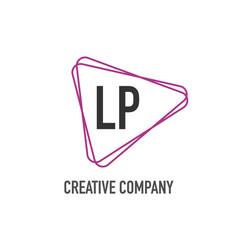 initial letter lp triangle design logo concept vector image