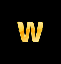 Initial letter w with metallic texture trendy 3d vector