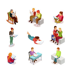 isometirc reading people icon set vector image