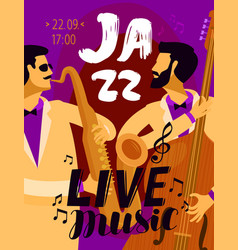 jazz placard music festival live music concept vector image