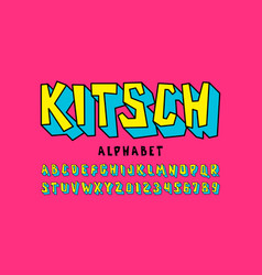 Kitch style font pop art alphabet letters and vector