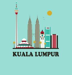 kuala lumpur travel background vector image