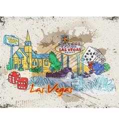 las vegas doodles vector image
