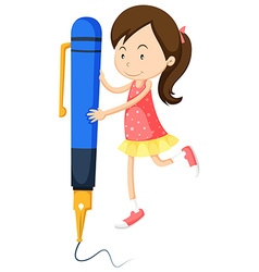 Little girl writing with giant pen vector