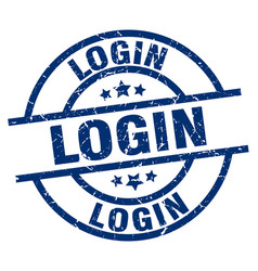 Login blue round grunge stamp vector