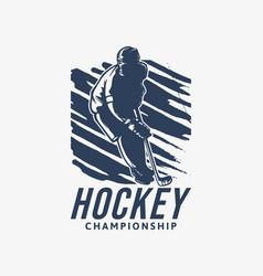logo design hockey championship with hockey vector image