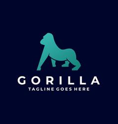logo gorilla silhouette style vector image